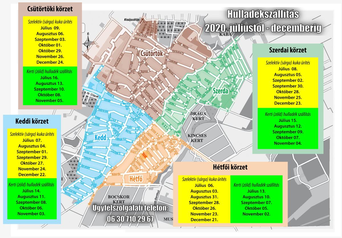 Hulladékszállítási térkép 2020. második félév